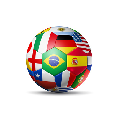 Brazil 2014,Football Soccer Ball with World Teams Flags Art by  daboost