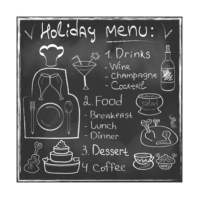 Holiday Food Menu Set Hand Drawn on Chalkboard Prints by  Natasha_from_Russia