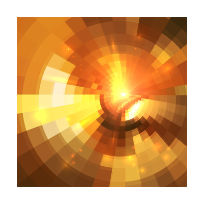 Abstract Orange Shining Circle Tunnel Background Prints by  art_of_sun