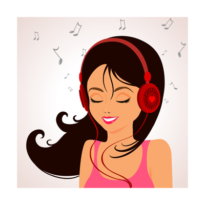 Girl Music Print by  Julka
