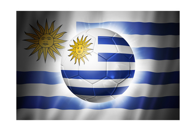 Soccer Football Ball with Uruguay Flag Prints by  daboost