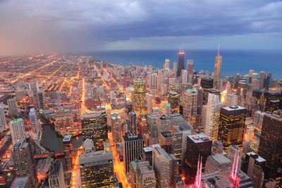 Chicago Downtown Aerial View at Dusk with Skyscrapers and City Skyline at Michigan Lakefront Photographic Print by Songquan Deng