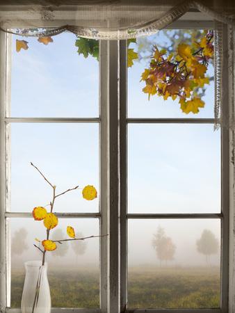 Autumn Landscape Viewed Through Window Photographic Print by  PinkBadger