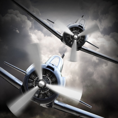 Dramatic Scene on the Sky: Vintage Fighter Plane Inbound from Sun Photographic Print by  Kletr