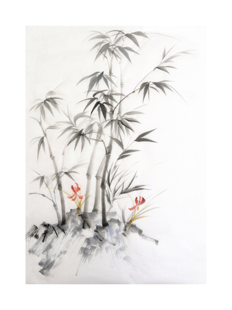 Watercolor Painting of Bamboo and Orchids Posters by  Surovtseva
