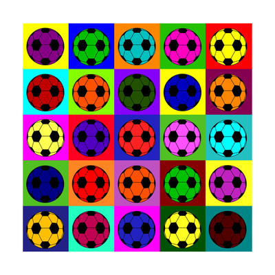 Warhol Footballs Art by  PiXXart