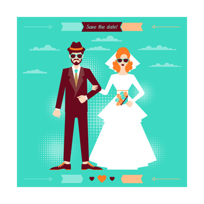 Wedding Invitation Card Template in Retro Style Prints by  incomible