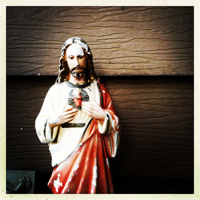 Weathered Statue of Jesus Photographic Print by pablo guzman