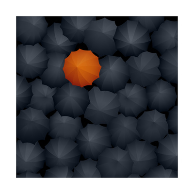 Top View of Many Black Umbrellas, One Orange Prints by  Vertyr