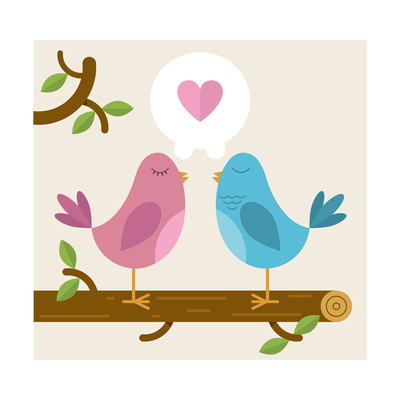 Love Birds on a Branch Posters by  Awindle