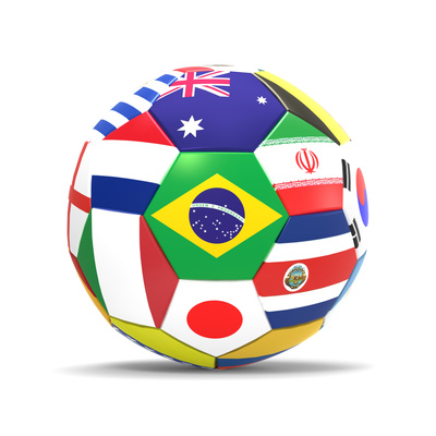 Football and Flags Representing All Countries Participating in Football World Cup in Brazil in 2014 Posters by paul prescott