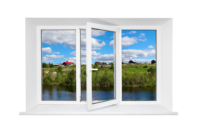White Plastic Triple Door Window with Trunquil View Through Glass Prints by  AntiKsu