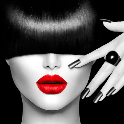 Black and White High Fashion Model Girl Portrait with Trendy Hair Style, Make Up and Manicure Photographic Print by Subbotina Anna