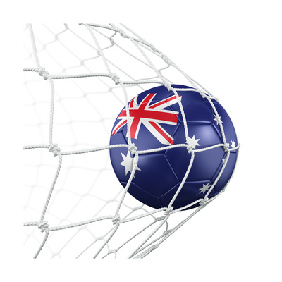 Australian Soccer Ball in a Net Prints by  zentilia