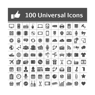 100 Universal Icons Prints by  frbird