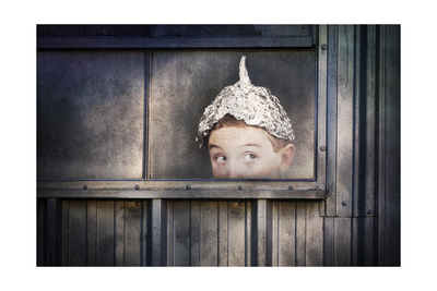 Boy in a Tin Foil Hat Peeking Out of a Window Posters by  soupstock