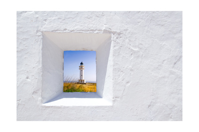 Formentera Mediterranean White Window with Barbaria Lighthouse Stampe di  holbox
