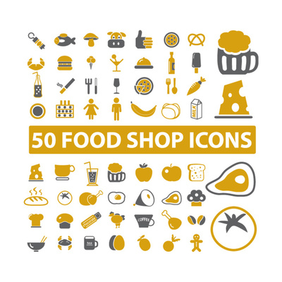 50 Food Shop Icons, Signss Set Prints by  VectorForever
