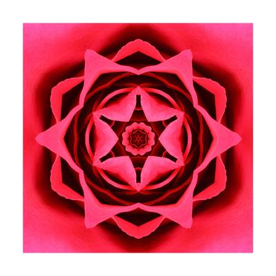 Red Concentric Flower Center: Mandala Kaleidoscopic Design Print by  tr3gi