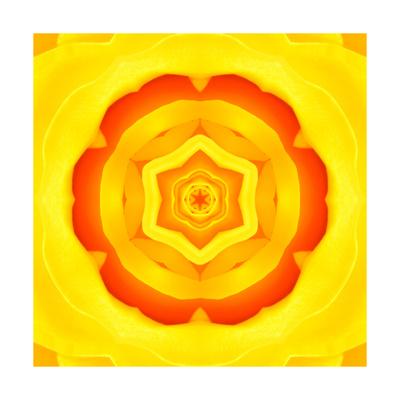 Yellow Concentric Flower Center: Mandala Kaleidoscopic Design Prints by  tr3gi