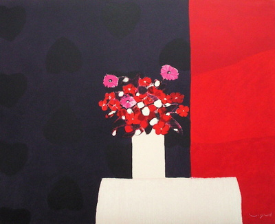 Petit bouquet rouge Collectable Print by André Vigud