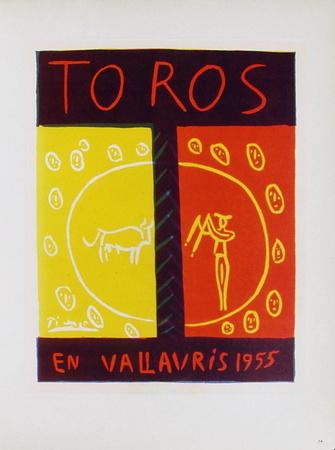 AF 1955 - Toros en Vallauris Samlertryk af Pablo Picasso