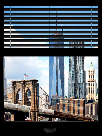 Window View with Venetian Blinds: Vertical Format of NYC Center and Brooklyn Bridge - Manhattan Photographic Print by Philippe Hugonnard