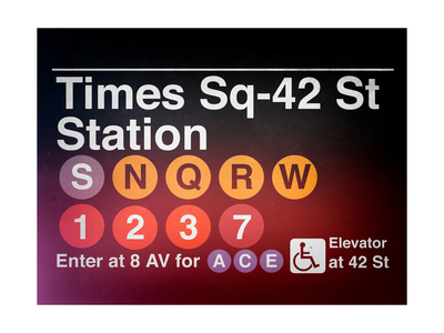 Subway Times Square - 42 Street Station - Subway Sign - Manhattan, New York City, USA Giclee Print by Philippe Hugonnard