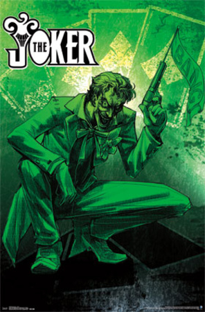 Green poster of The Joker carying BANG gun