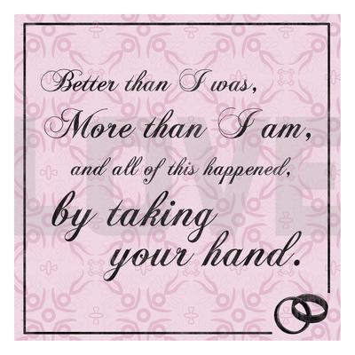 Wedding Hands Pink Print by Lauren Gibbons