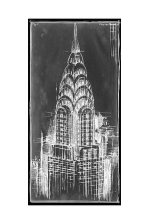 Chrysler Blueprint Prints by Ethan Harper