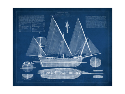 Antique Ship Blueprint III Prints by  Vision Studio