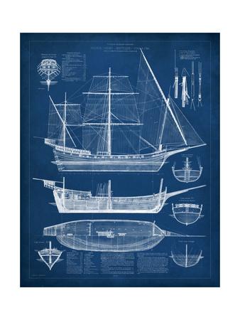 Antique Ship Blueprint I Prints by  Vision Studio