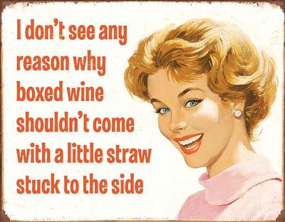 Boxed Wine Tin Sign Tin Sign