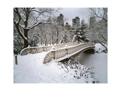 Snow Covered Bridge Central Park Photographic Print by Henri Silberman