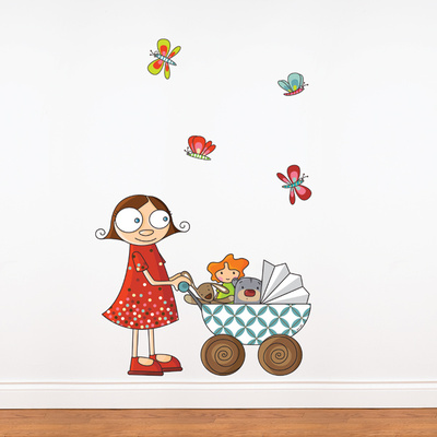 Lil Girl with Carriage Wall Decal Wall Decal
