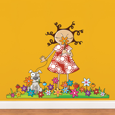 Lou in Flowers Wall Decal Wall Decal