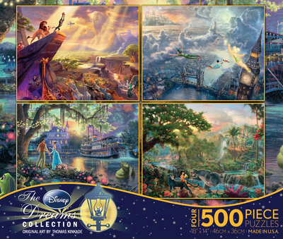 Thomas Kinkade Disney Dreams Collection 4 in 1 500 Piece Puzzle Jigsaw Puzzle
