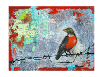 Red Robin Love Letters Art Painting Stampe di Blenda Tyvoll