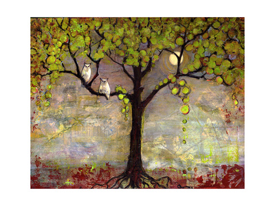 Print with Owls Moon River Tree Prints by Blenda Tyvoll
