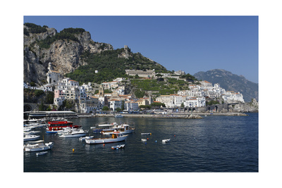 View of Amalfi Harbor, Campania, Italy Photographic Print by George Oze