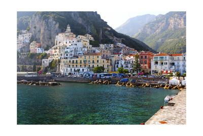 Amalfi Town Coastal View, Campania, Italy Photographic Print by George Oze