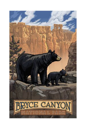 Bryce Canyon Black Bear PAL1118 Poster by Paul A Lanquist