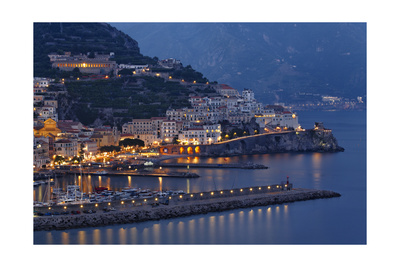 High Angle View of Amalfi at Night, Campania, Italy Photographic Print by George Oze
