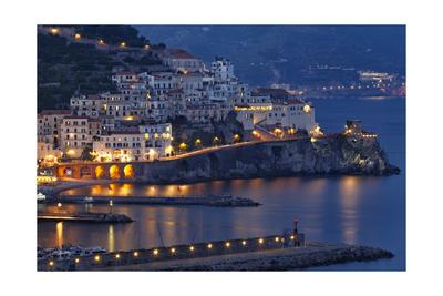 Amalfi Night Scenic,Campania, Italy Photographic Print by George Oze