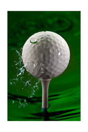 Green Golf Ball Splash Photographic Print by Steve Gadomski