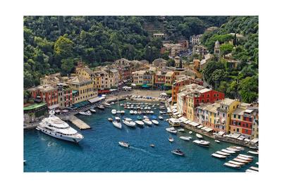 Portofino Harbor From Above, Liguria, Italy Photographic Print by George Oze