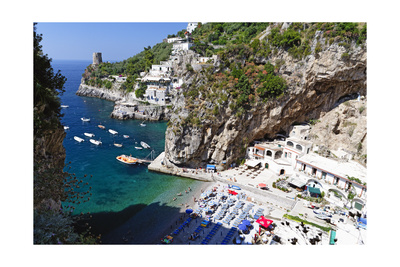 Small Amalfi Coast Beach at Praiano, Italy Photographic Print by George Oze