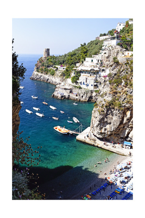 Beach in a Cove, Praiano, Amalfi Coast, Italy Photographic Print by George Oze