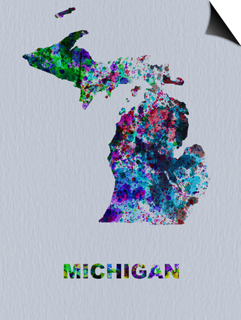 Michigan Color Splatter Map Poster by  NaxArt